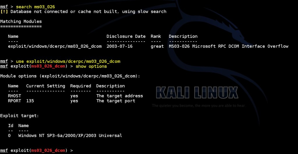 acquiring-meterpreter-shell-on-windows-by-using-msf-ms03-026-dcom-module-02