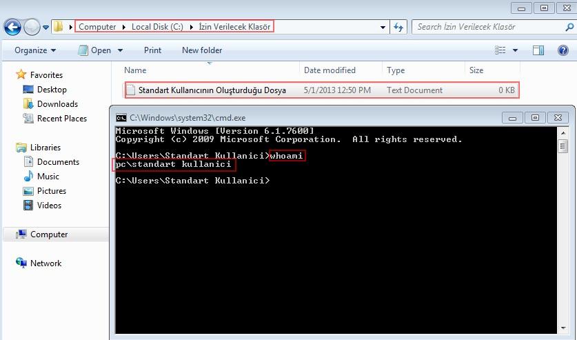 Şekil - 20: Standart Kullanıcı ile Klasör İçerisinde Dosya Oluşturma