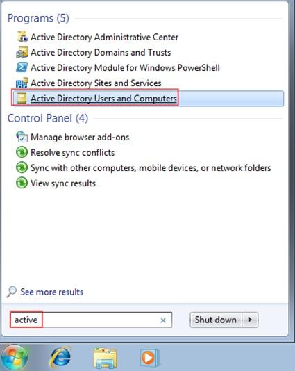 Şekil - 8: Active Directory Users and Computers Konsolunun Başlatılması
