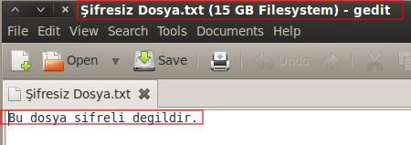 Şekil - 16: Şifresiz Dosyanın İçeriğinin Listelenmesi