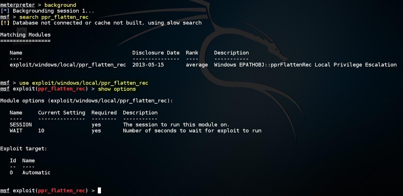 escalating-privileges-on-windows-by-using-msf-ppr-flatten-rec-exploit-module-02