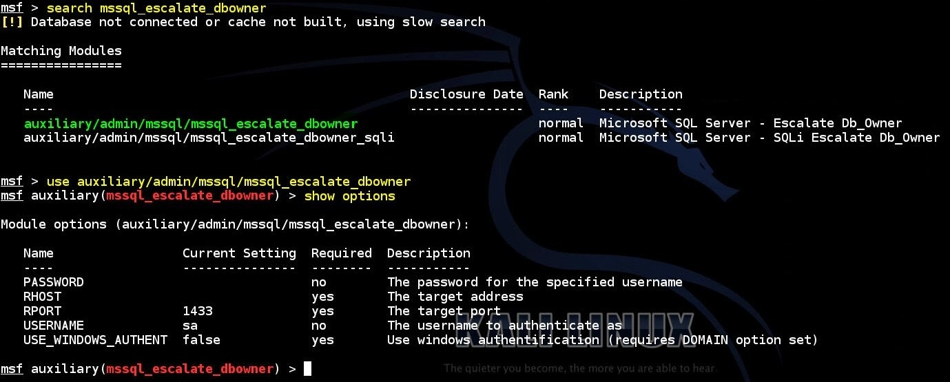 escalating-privileges-on-a-misconfigured-ms-sql-database-by-exploiting-trustworthy-option-using-msf-mssql-escalate-dbowner-auxiliary-module-01
