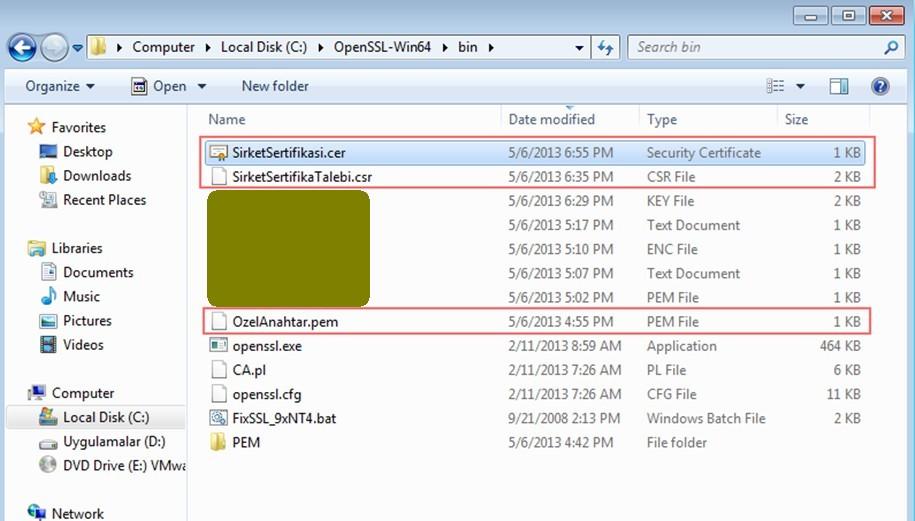 Şekil - 5: Sertifika Orotitesi'ndeki Özel Anahtar, CSR ve Sertifika Dosyaları