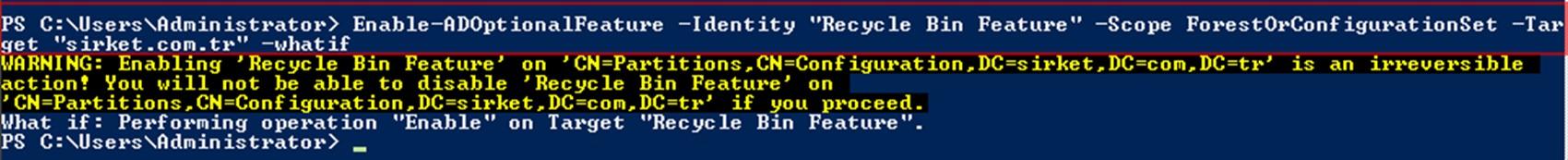 Şekil - 08: Recycle Bin Etkinleştirmesi Öncesi Kontrol
