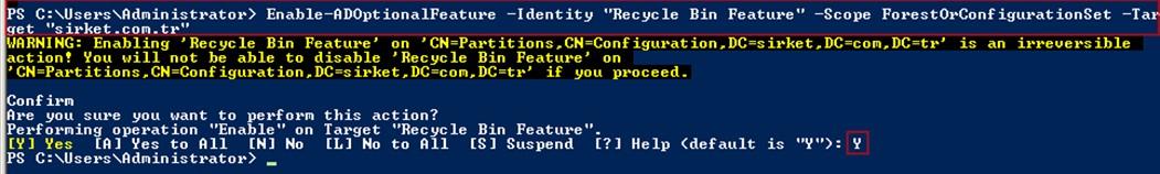 Şekil - 09: Recycle Bin Etkinleştirmesi