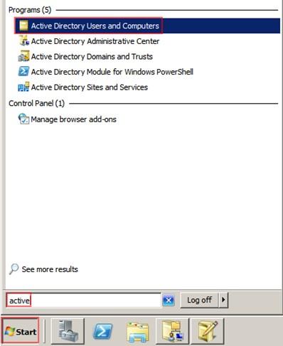 Şekil - 11: Active Directory Users and Computers Konsolunun Açılması
