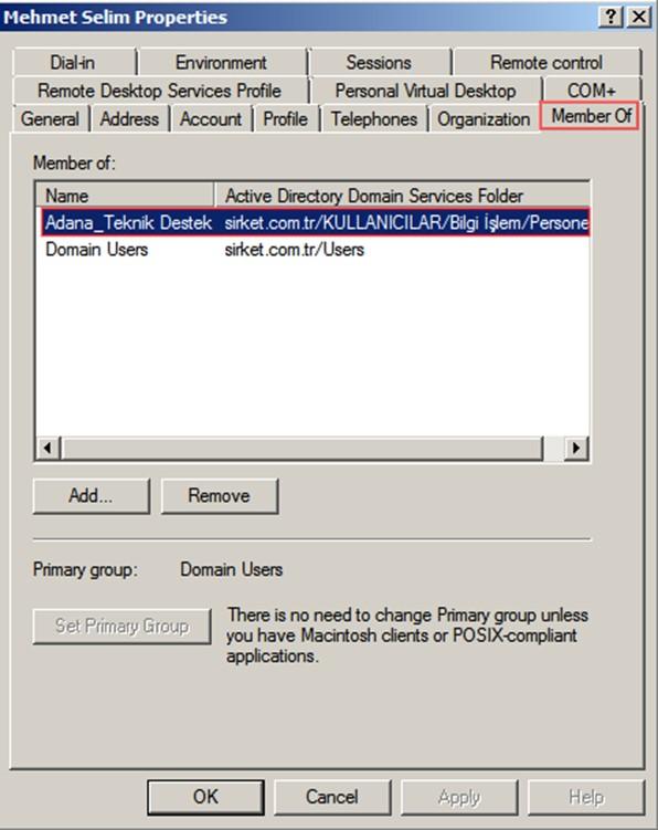 Şekil - 13: Silinecek Kullanıcı ve Grup Üyeliği