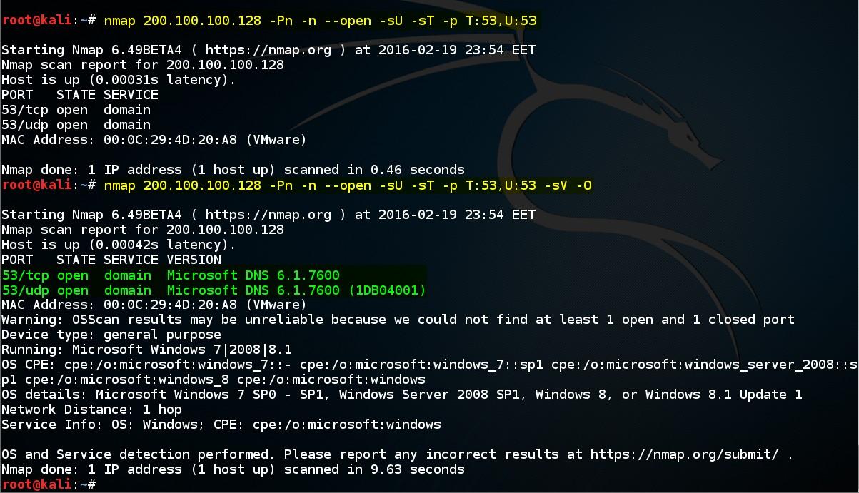Şekil - 02: NMAP ile DNS Servisi Hakkında Bilgi Edinme