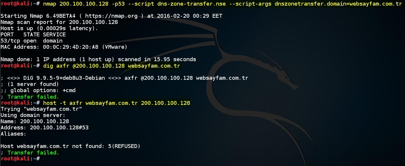 Şekil - 10: Nmap dns-zone-transfer Betiği, Linux host Aracı ve Linux host Aracı ile Bölge Transferinin Gerçekleştirilme Denemeleri