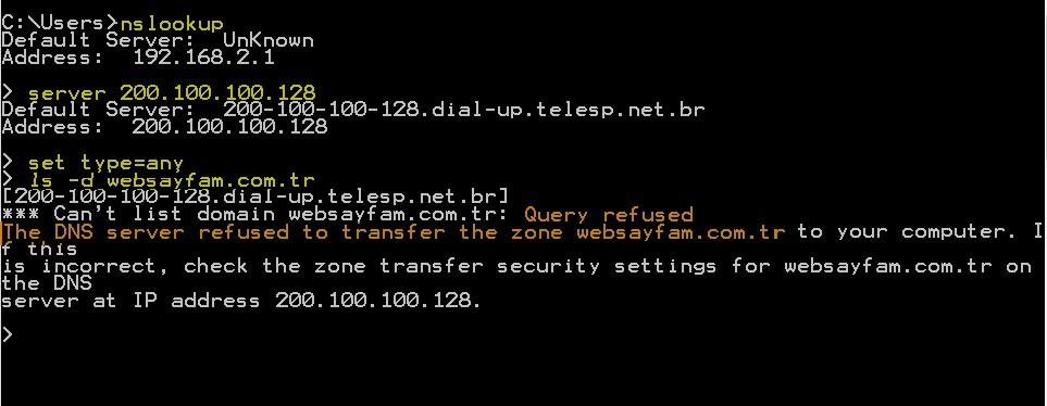 Şekil - 11: Windows Nslookup Aracı ile Bölge Transferinin Gerçekleştirilme Denemesi