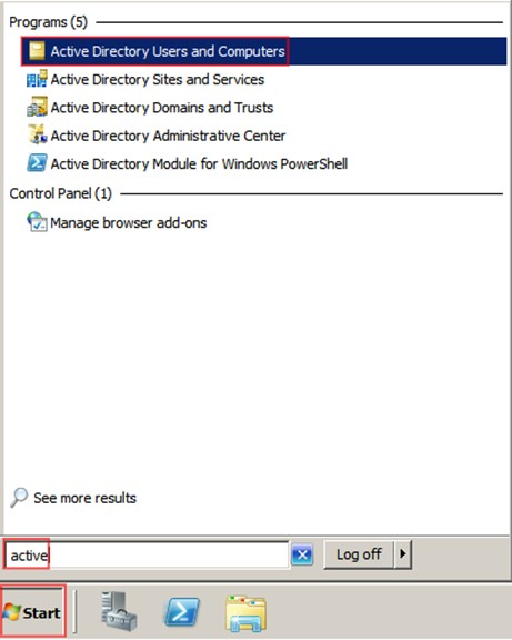 Şekil - 1: Active Directory Users and Computers Konsolunun Açılması
