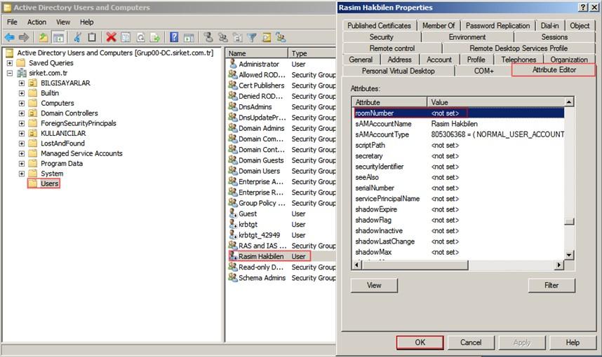 Şekil - 15: İşlem Sonrasında Rasim Hakbilen Kullanıcısının Özelliklerinin RODC Üzerinde İncelenmesi