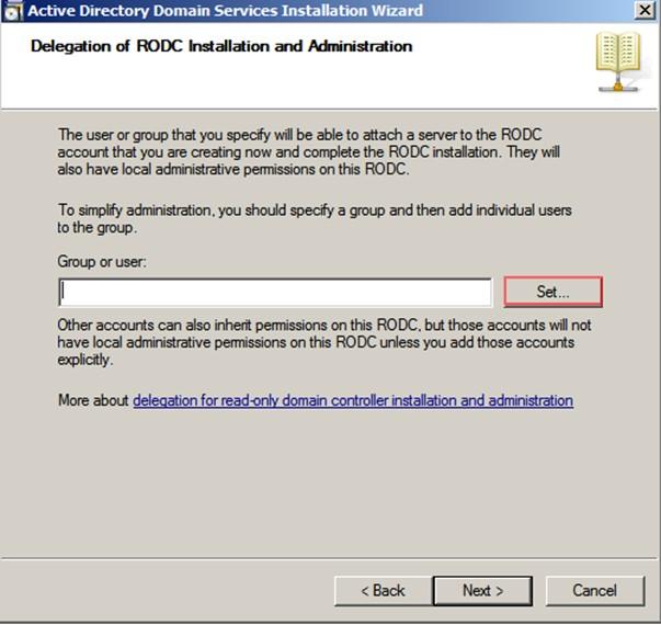 Şekil - 11: RODC Kurulumunu Gerçekleştirecek Kullanıcının veya Grubun Belirlenmesi