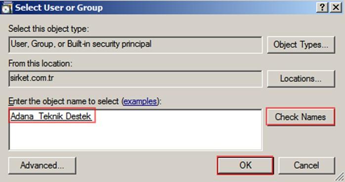 Şekil - 12: RODC Kurulumu Gerçekleştirecek Kullanıcının veya Grubun Seçilmesi - 1