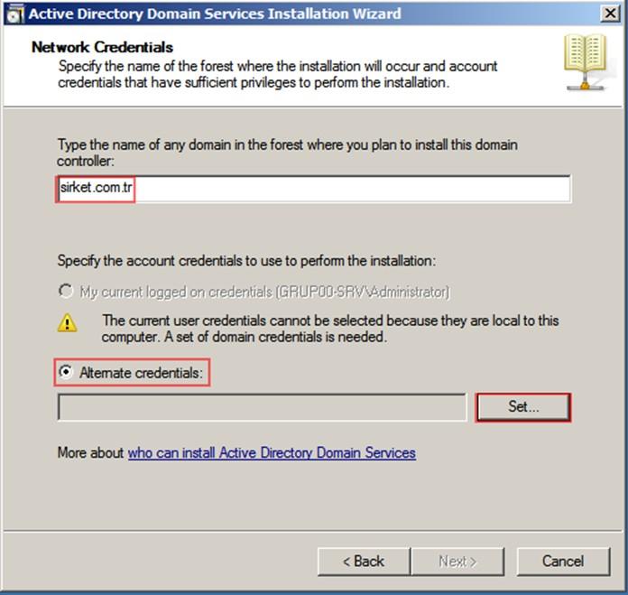 Şekil - 22: RODC Kurulumunu Gerçekleştirecek Kullanıcının Belirlenmesi