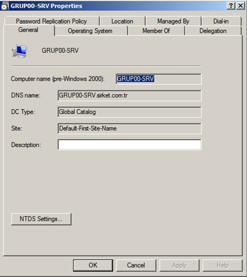 Şekil - 33: RODC Nesnesinin Genel Özelliklerinin Listelenmesi