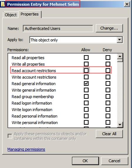 Şekil - 6: Sıfırlama İşlemi Sonrası Kullanıcı İzinlerinin Listelenmesi